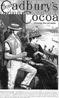 Cadbury's Cocoa advert with rower, circa 1885. Wikimedia Commons
