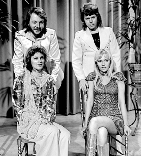 ABBA wins the Eurovision song contest in Brighton with Waterloo, beginning a path to worldwide fame. Wikimedia Commons
