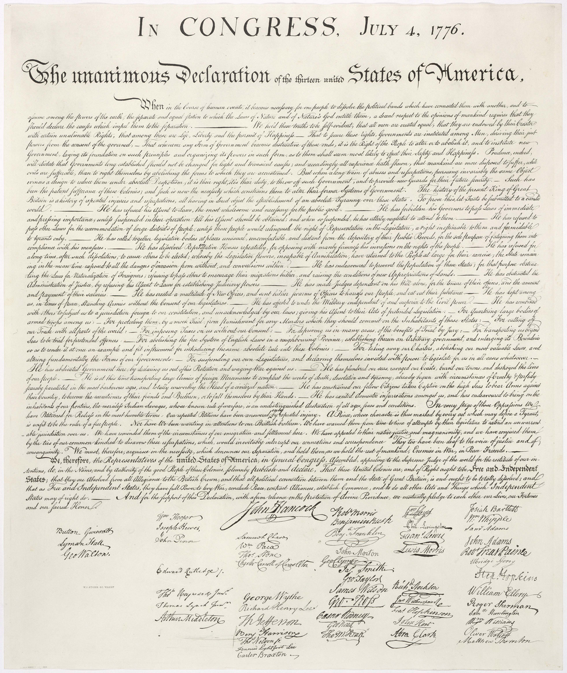 United States Declaration of Independence 4th July 1776. Wikimedia Commons