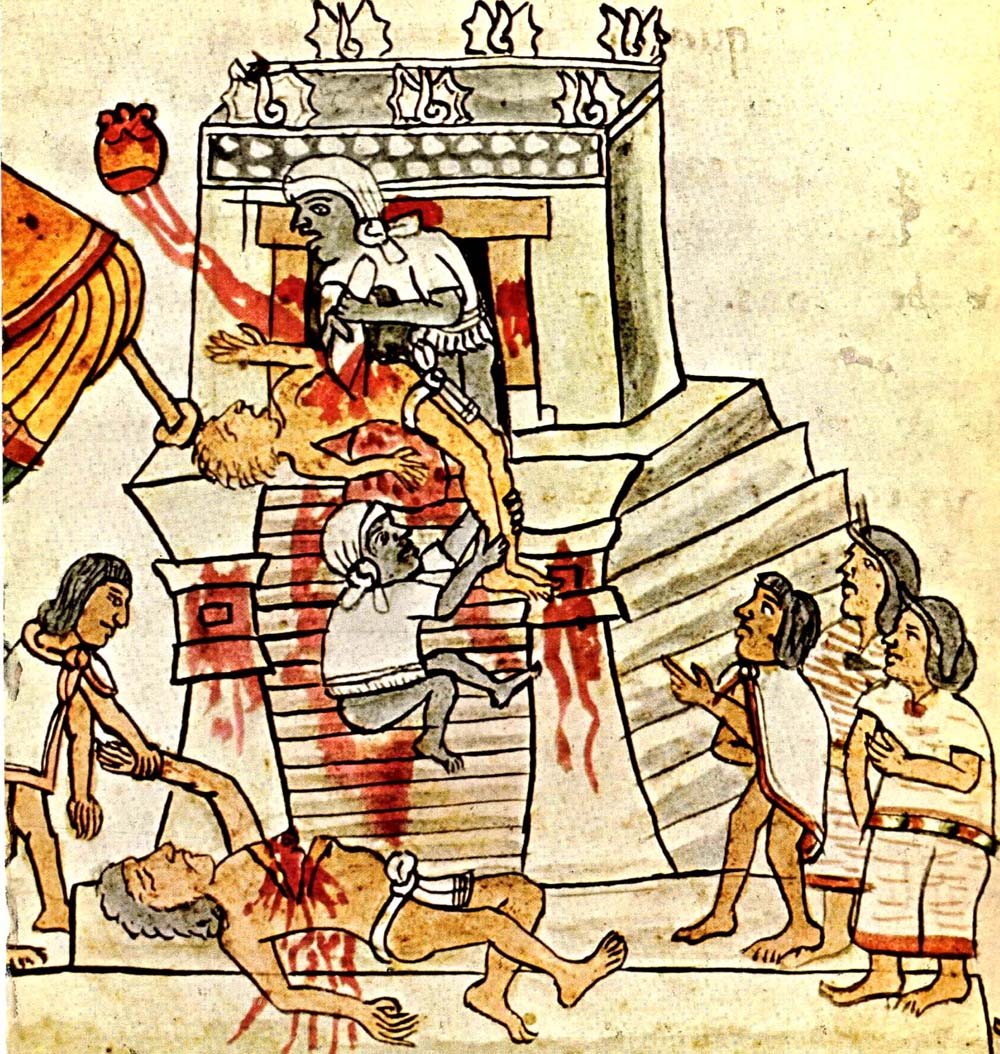 Human sacrifice portrayed in the Codex Magliabechian. Wikimedia Commons