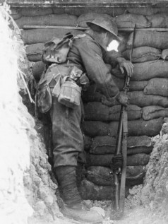 Front Cover Wikipedia- Worcester_Regiment_sentry_in_trench_Ovillers_1916_IWM_Q_4100