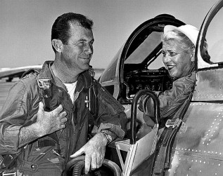 Charles Yeager with Jackie Cochran - the first woman to break the sound barrier from Wikimedia Commons.