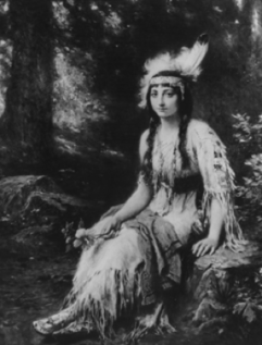 A portrait of Pocahontas, completed around the time of her marriage to John Rolfe. Credit: Three Lions/Getty Images. Painting by Jean Leon Gerome Ferris.