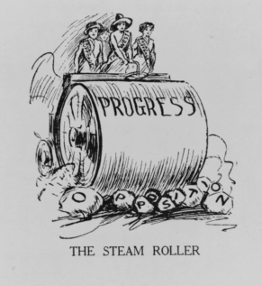 US Suffrage Steamroller Cartoon, Wikimedia Commons