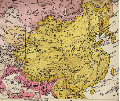 The image attached is from Wikicommons, and is originally from Louis le Grand - History and Commercial Atlas of China, Albert Herrmann, Harvard University Press, 1935